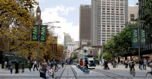 George and Bathurst Streets in 2030 - a shiny, happy future for Sydney? The missing Woolworths building, behind the trees on the right, augurs otherwise.