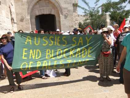 Sylvia Hale and Vivienne Porzsolt in Jerusalem at the march for an independent Palestine. Photo courtesy of Vivienne Porzsolt