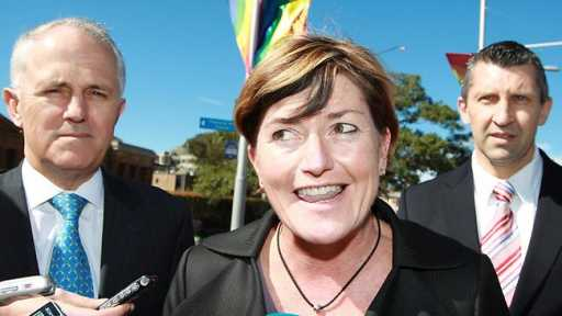 Successful campaign: Christine Forster with Malcolm Turnbull (left) and Edward Mandla (right)