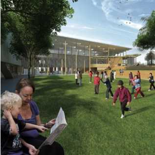 The proposed view of Marrickville Library and its surrounding park