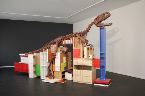 Claire Healy and Sean Cordeiro Future Remnant 2011 dinosaur fossil replica, IKEA furnishings, cable binding, courtesy the artists and Nature Morte, Berlin  © the artists