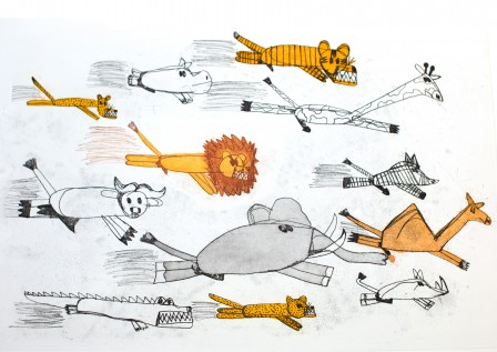 Dion Beasley,  Animals From Overseas - Running 2011,  soft ground etching and aquatint, image courtesy and © the artist. Photograph: Rhett Hammerton