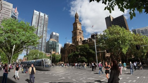 An artist's impression of the light rail to be implemented on George St