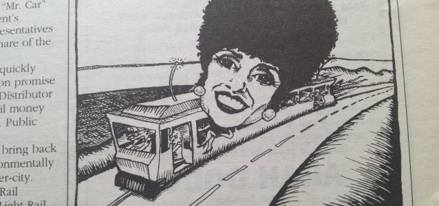 Clover Moore on a Bondi tram from City Hub in 1995