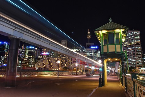 The Sydney Monorail line on Pyrmont Bridge