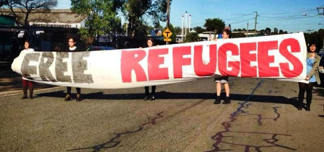 Students protest outside the Villawood Detention Centre on Tuesday. Photo: Nina Blackmore