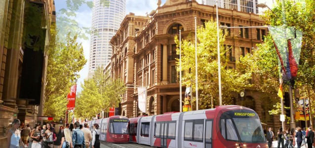 An artist's impression of the light rail development at martin place. Source: Transport for NSW