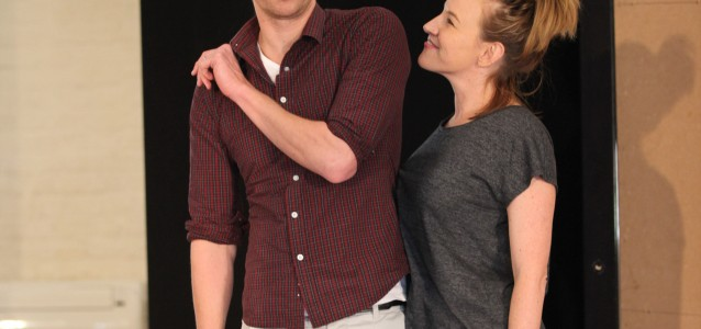 Leon Ford and Kate Mulvany in rehearsal for Tartuffe.