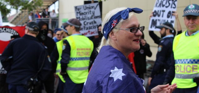 Anti-Ramadan (foreground) and Anti-Racism (background) protestors in Marrickville on Saturday. Photo: Elliott Brennan