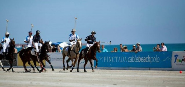 Beach Polo being played in Broome. Photo: Cable Beach Polo/Facebook