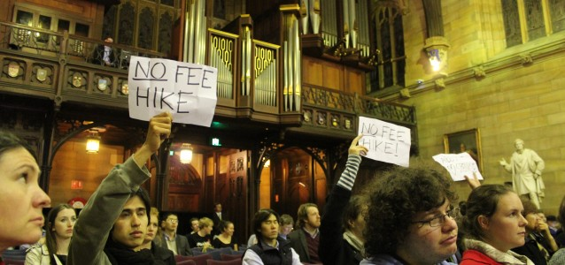 Monday night's meeting in the Sydney University Great Hall. Image: Elliott Brennan