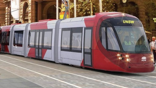 An artists's impression of a tram on running on the CBD and South-East Light Rail line