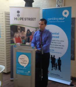 Independent member for Sydney Alex Greenwich promoting Hope Street Inner City Gambling program