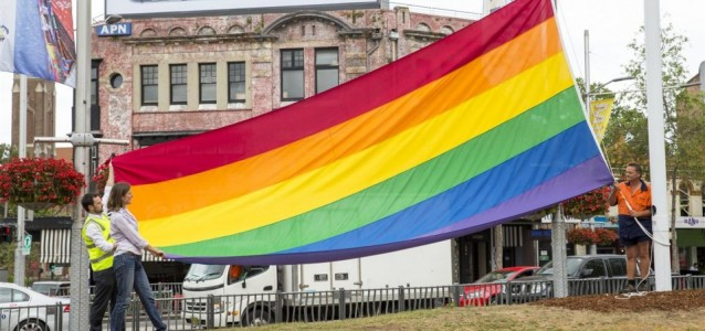 Rainbow flag in Taylor Square. Photo: clovermoore.com.au