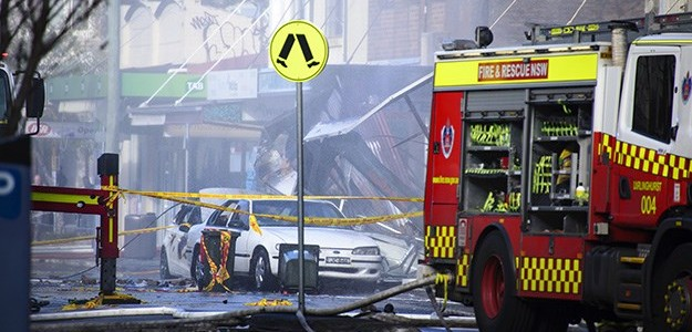 The scene after the blast