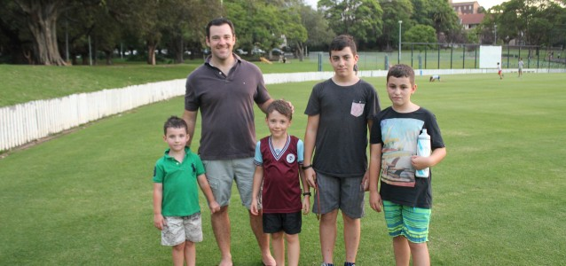 Graham and Cooper family, from Leichhardt and Stanmore enjoy an afternoon at Petersham Park. Photo: Lauren O'Connor