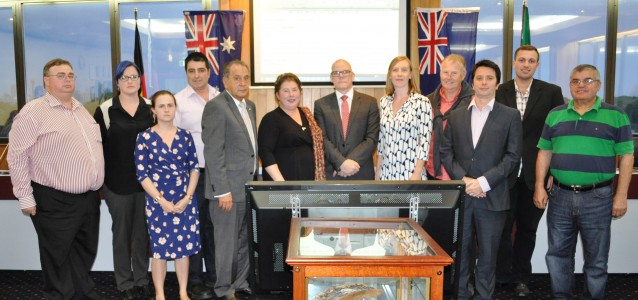 Marrickville councillors standing in solidarity with Clr Rosana Tyler. Source: Marrickville Council