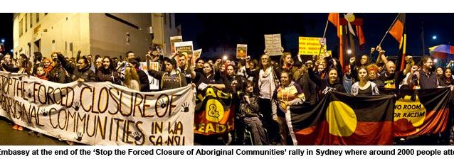 Protesters at the Redfern Aboriginal Tent Embassy at the rally's end. Photo: Glen Lockitch