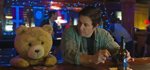 Ted (Seth MacFarlane) and Mark Wahlberg in Ted 2.