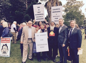 Waverley councillors protesting amalgamation. Source: Twitter