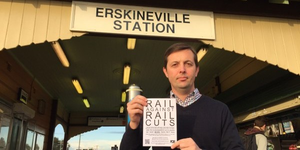 Friends of Erskineville President Darren Jenkins protesting the rail cuts. Source: Darren Jenkins