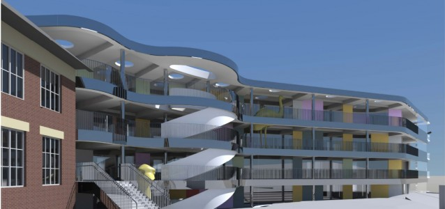 The architectural design for the four storey addition to Bellevue Hill Public. Source: Woollahra Council