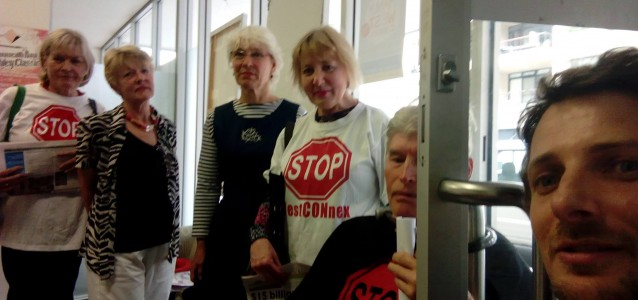 Protesters at Baird's office