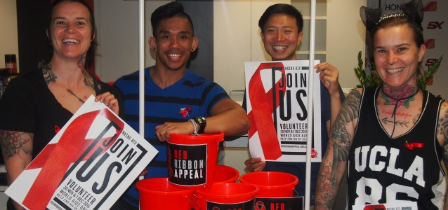 ACON staff gearing up for World AIDS Day and the ending HIV Red Ribbon Appeal. Source: Supplied.