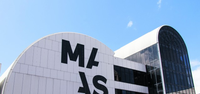 "New corporate visual identity ""MAAS, Museum of Applied Arts and Sciences"" on Stage 2 exterior of Powerhouse Museum, PHM, buidling, Harris Street forecourt entrance. For website home page."