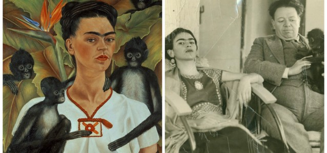 Left: Frida Kahlo, Self-portait with monkeys, 1943. Right: Photographer unknown, Frida and Diego with Fulang Chung, 1937.