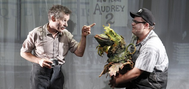 Tyler Coppin and Brent Hill in Little Shop of Horrors. Photo by Jeff Busby.